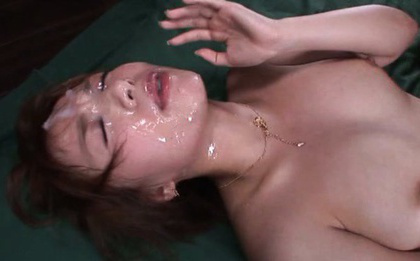 Rika hoshimi. Rika Hoshimi Asian with nasty boobies gets a lot of cumshot on face