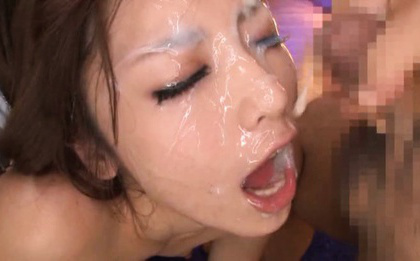 Ayu sakurai. Ayu Sakurai Asian with nasty titties gets a lot of ejaculate on face