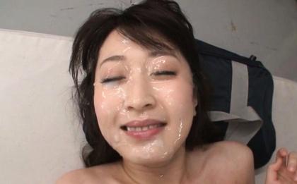 Arisa misato. Arisa Misato Asian with round cans has face under ejaculate sperm rain
