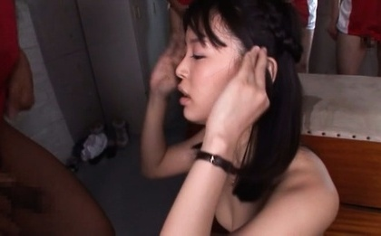 Tsukasa aoi. Tsukasa Aoi Asian has anus exposed and strokes two
