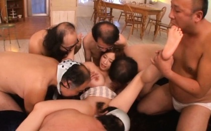 Saki okuda. Saki Okuda Asian has toes licked and hairy twat eaten by dudes