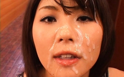 Azumi Harusaki on her knees and face covered in sperm